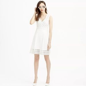 •J.CREW• White Sleeveless Striped Eyelet Dress